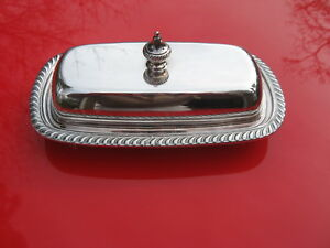 Vintage Oneida Fiesta Covered Silverplate Butter Dish W Pyrex Liner