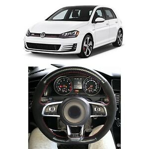 Carbon Fiber Black Suede Leather Steering Wheel Cover For Vw Golf Polo Gti R Mk7