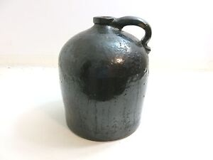 Antique Late 1800 S Dark Brown Glaze Stoneware Jug With Single Handle 11 Tall