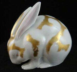 Rare Antique Japanese Porcelain Kutani Rabbit Gilt 1st 20th C 5 W 4 7 8