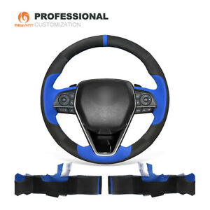 Top Design Stitch Soft Suede Car Steering Wheel Cover For Toyota Camry 2018 2019