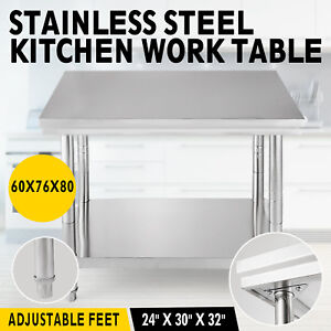 Stainless Steel Work Table Commercial Bench Shelf Kitchen Restaurant 60x76x80