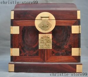 10 Old Chinese Precious Redwood Wood Hand Carved Dressing Case Storage Box Boxes
