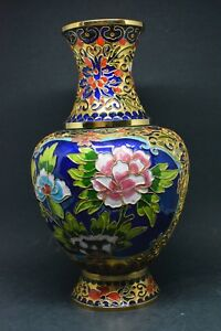 Vintage Chinese Open Wire Cloisonne Vase 10 Inches Tall