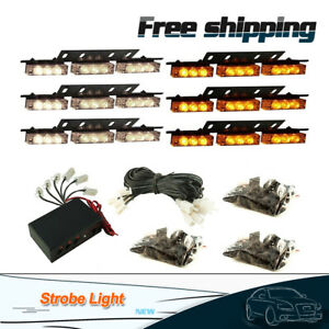 White Amber 54led Emergency Warning Strobe Lights Bars Deck Dash Grill Car Truck
