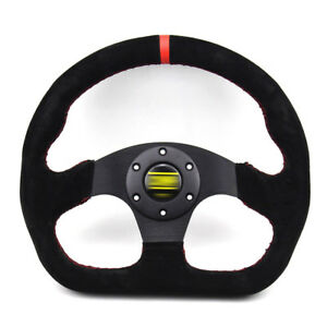 325mm Black Flat Suede Leather Universal Fit Sports Racing Drift Steering Wheel
