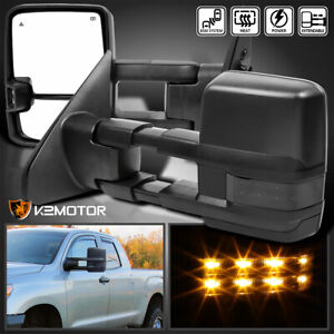For 2007 2017 Tundra Power Heated Black Tow Mirrors smoke Led Signal Lights bsm