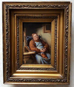 Antique Hand Painted Kpm Porcelain Plaque Portrait Of Seated Monk Signed Wagner