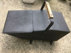 Vintage Art Crafts Metal Footed Wood Coal Ash Fireplace Fire Scuttle Box Bin
