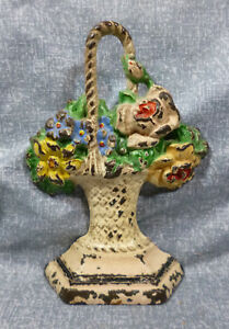 Antique Hubley Design 132 Mixed Flower Basket With Bird Cast Iron Door Stop