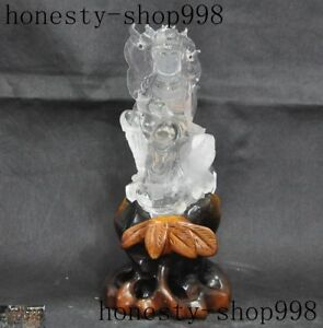 Fine China 100 Natural Crystal Hand Carved Kuan Yin Guanyin Bodhisattva Statue