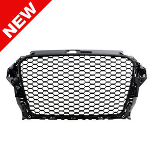 2015 Audi A3 Rs3 Style Mesh Grille Badgeless No Parking Sensor Gloss Black