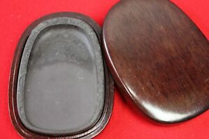 Calligraphy Tool Old Chinese Ink Stone With Wooden Box