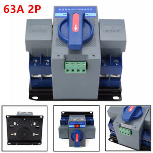 50hz 60hz 220v 63a 2p Dual Power Automatic Transfer Switch 150 137 118mm manual
