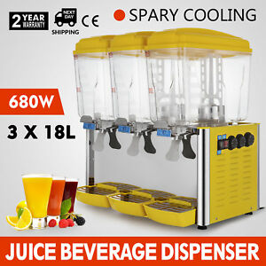 54l Stainless Steel Cold Juice Beverage Dispenser Plastic Fruit Orange Jet Spray