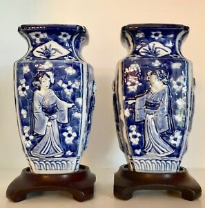 Pair Antique 8 Japanese Blue White Porcelain Vases Japanese Beauties Stands