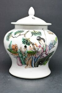 Antique Chinese Calligraphy Ginger Jar 6 Inches Tall