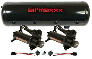 Air Ride Compressor Package Dual Airmaxxx Black 480 8 Gallon Storage Tank 200psi