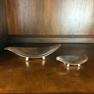 Tiffany Co Sterling Silver Bowls Dish Set Of 2 Mid Century Modern 370g Rare