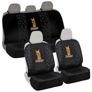 Waterproof Pet Seat Cover Complete Set For Front Rear Bench Scooby Doo Black