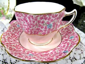 Rosina Tea Cup And Saucer Pink Floral Painted Chintz Pattern Teacup Swirls