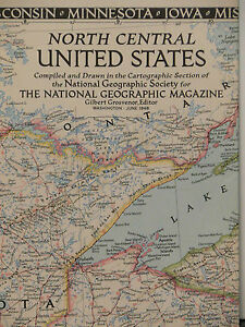 Vintage 1948 National Geographic Map North Central United States