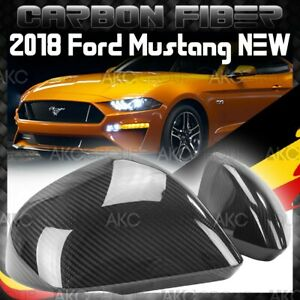 Glossy Carbon Fiber Side Mirror Cover Overlay With Light Cut Out For 18 Mustang