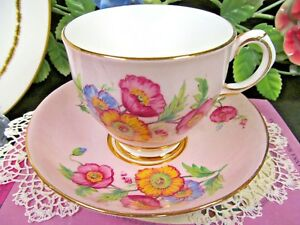 Rosina Tea Cup And Saucer Pink And Painted Floral Pattern Teacup England