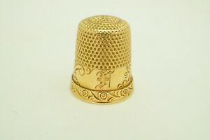 Antique 14k Gold Ketcham Mcdougall Sewing Thimble Floral Etched Mono Size 9