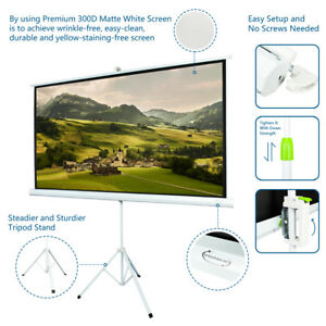 80 Tripod Projector Screen 16 9 Projection Hd Home Theater Pull Down 70 X 39