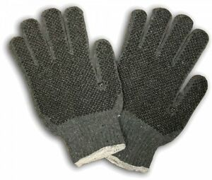 25 Dozen 300 Pair Standard String Knit Pvc Dot Gray 2 Sides Work Gloves Large L