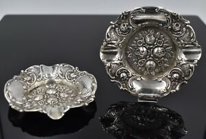 Set Of 2 Antique Repousse Rosebud Roses Scroll Dish Tray 800 Silver Lot Vintage