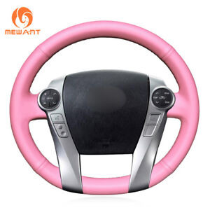 Top Design Pink Leather Steering Wheel Cover For Toyota Prius 30 xw30 C V Aqua