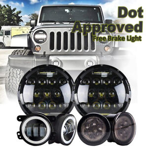 7 Led Headlight Drl Turn Signal Fog Light Lamp For 07 17 Jeep Wrangler Jk