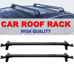 Universal Car Top Luggage Roof Rack Cross Bar Carrier With Lock 2 Pack Black