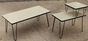 Mid Century Vintage Atomic Coffee Step End Table Hairpin Metal Legs