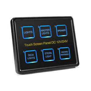 Universal 6 gang Touch Switch Panel Box Blue Led Screen 12v 24v Car Marine Boat