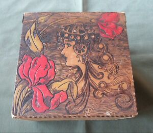 Vintage Art Nouveau Pyrography Box
