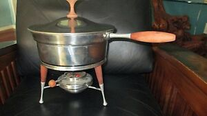 Vintage Mid Century Modern Chafing Dish Set Wood Handles And Legs M Made In Usa