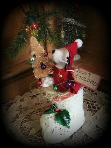 Handmade Farmhouse Mouse Christmas Vintage Candy Boot Doll Decor Ooak Last Chanc