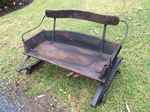 Antique Primitive Wood Horse Buggy Sleigh Seat W Springs Very Good