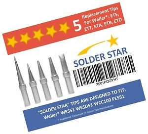 Best Weller Et Solder Tips Replacement Set 5 Extra Long Life Soldering Iron
