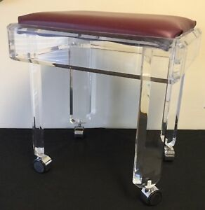 Mcm Thick Clear Lucite Stool Bench Purple Seat Chrome Casters
