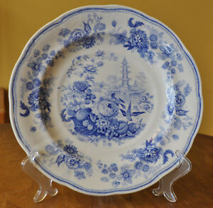 Superb Antique Pearlware Staffordshire Blue Transferware Plate Pagoda Enoch Wood