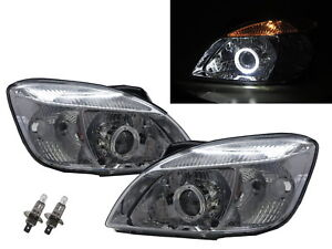 Pride 2005 2011 4d 5d Guide Led Angel eye Projector Headlight Chrome For Kia Lhd