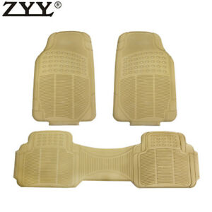 3x New Heavy Duty Weather Trimmable Pvc Rubber Beige Car Floor Carpet Mats