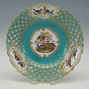 Antique Meissen Porcelain Reticulated Plate With 3 Birds 3
