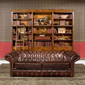 91 Sofa Restoration Style Vintage Cigar Bycast Leather Tufted Chesterfield