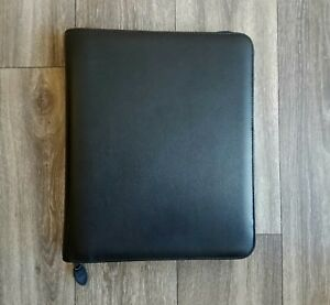 Day timer Black Leather Zippered Binder Cover planner Folio Size 11 25 X 14