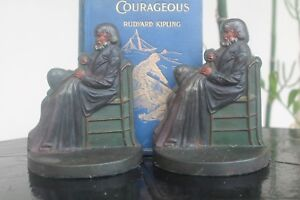 Vintage Bradley Hubbard Bookends Circa 1925 Painted Cast Iron Old Man